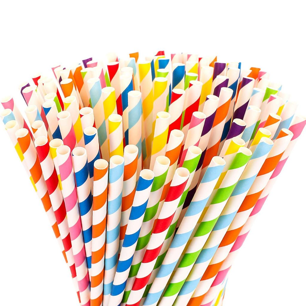 Rainbow Stripe color paper straw, Multicolor paper straw, bio straw, bio biodegradable straw, paper straw Cambodian supplier